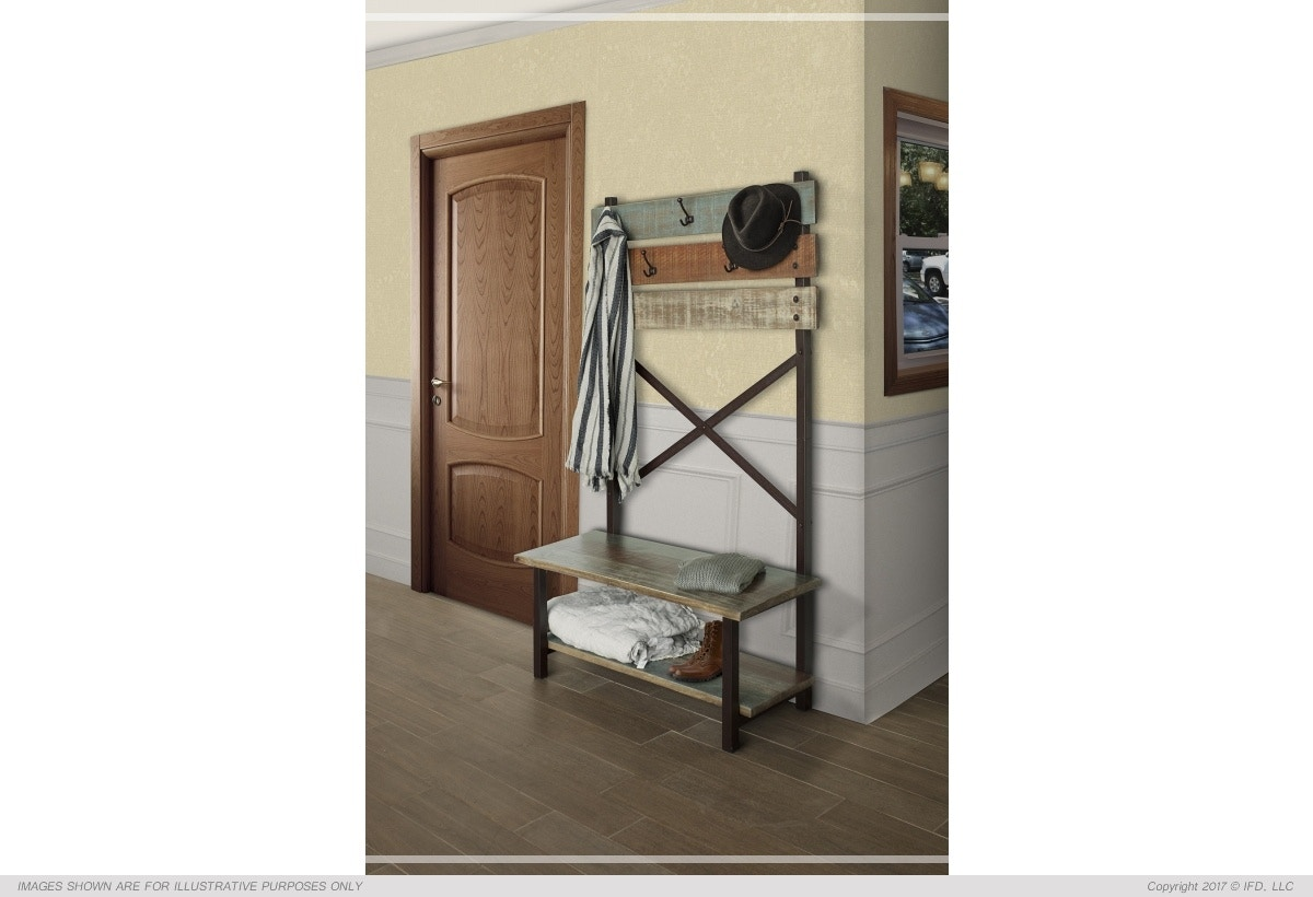 International Furniture Direct Hall Tree Bench With Hooks 773559