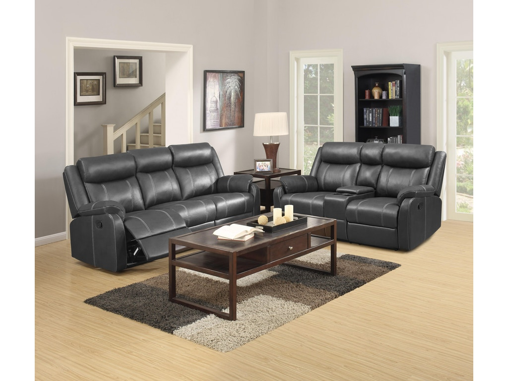 Simple Elegance Reclining Sofa With Drop Down Table Domino