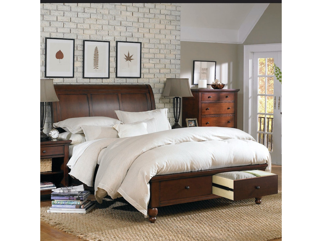 aspenhome cambridge queen size sleigh bed with storage footboard p16840