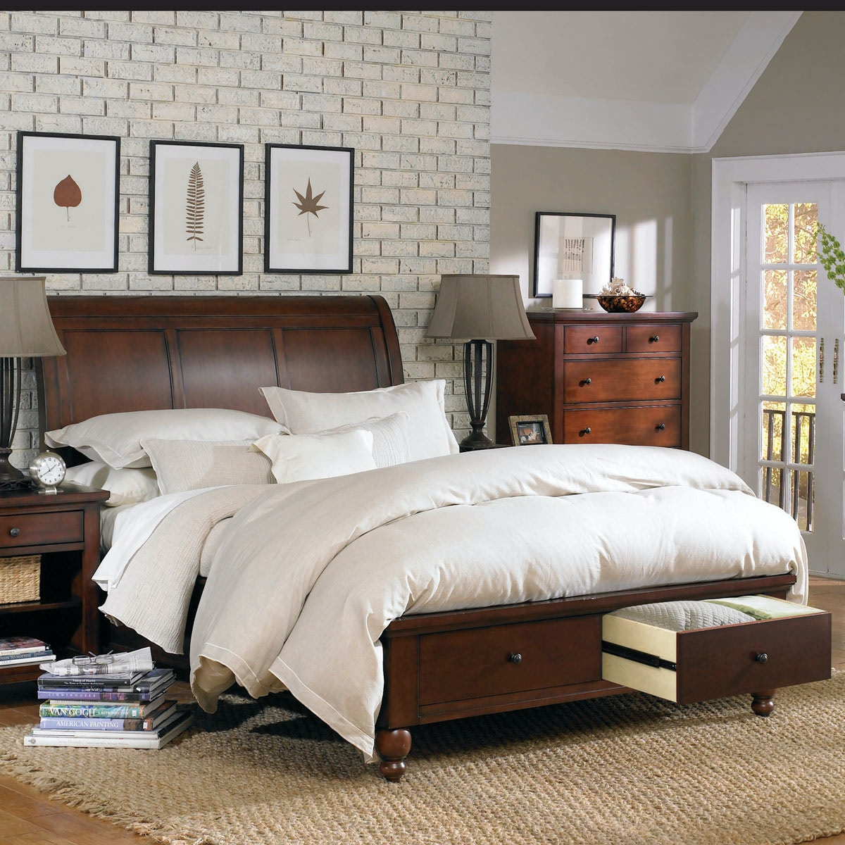 aspenhome cambridge king size sleigh bed with storage footboard p16860