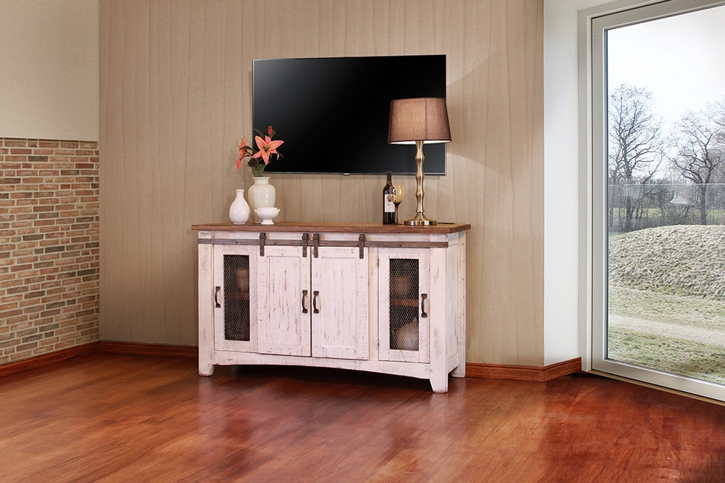 International Furniture Direct 60 Tv Stand With Sliding Door 610813