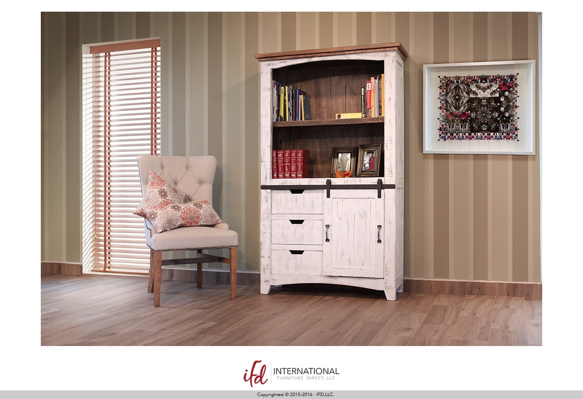 International Furniture Direct Bookcase With Sliding Door 697407
