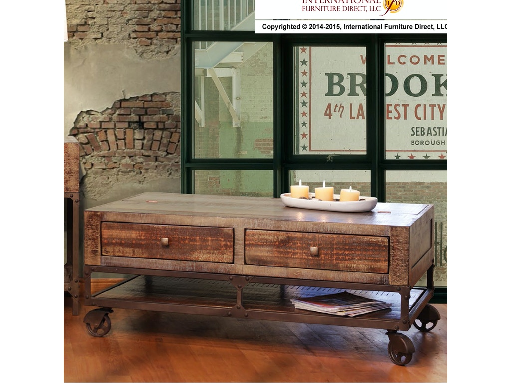 International Furniture Direct Urban Gold 58quot Console 548130
