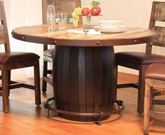 International Furniture Direct Antique Round Dining Table 510110 510108
