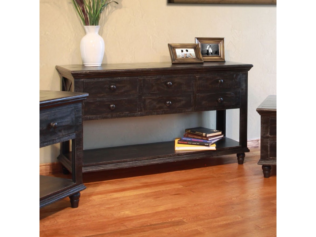 Antique sofa table - International Furniture Direct Vintage Sofa Table In Charcoal 532403