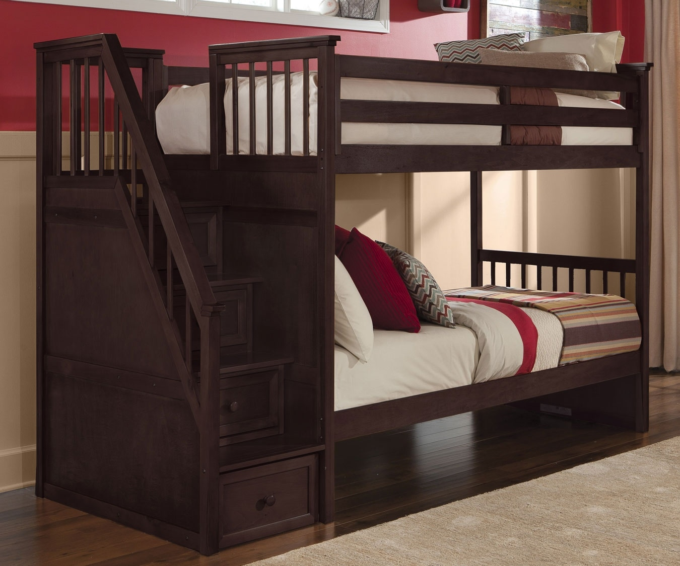 Awesome NE Kids Stair Bunk Bed Twin Over Twin P489739