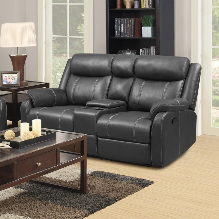 simple elegance reclining loveseat with center console 662645