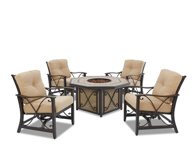 Clearance FIVE PIECE FIRE PIT CHAT SET. SET IS IN ALL SUNBRELLA FABRIC. SUPPLIES EXTREMELY LIMITED. KLAUSSNER