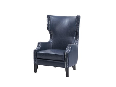 Zing! Navy Bonded Leather Wing Chair FPF18-0393