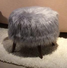 jonathan louis bibi accent ottoman llama fur silver feature silver