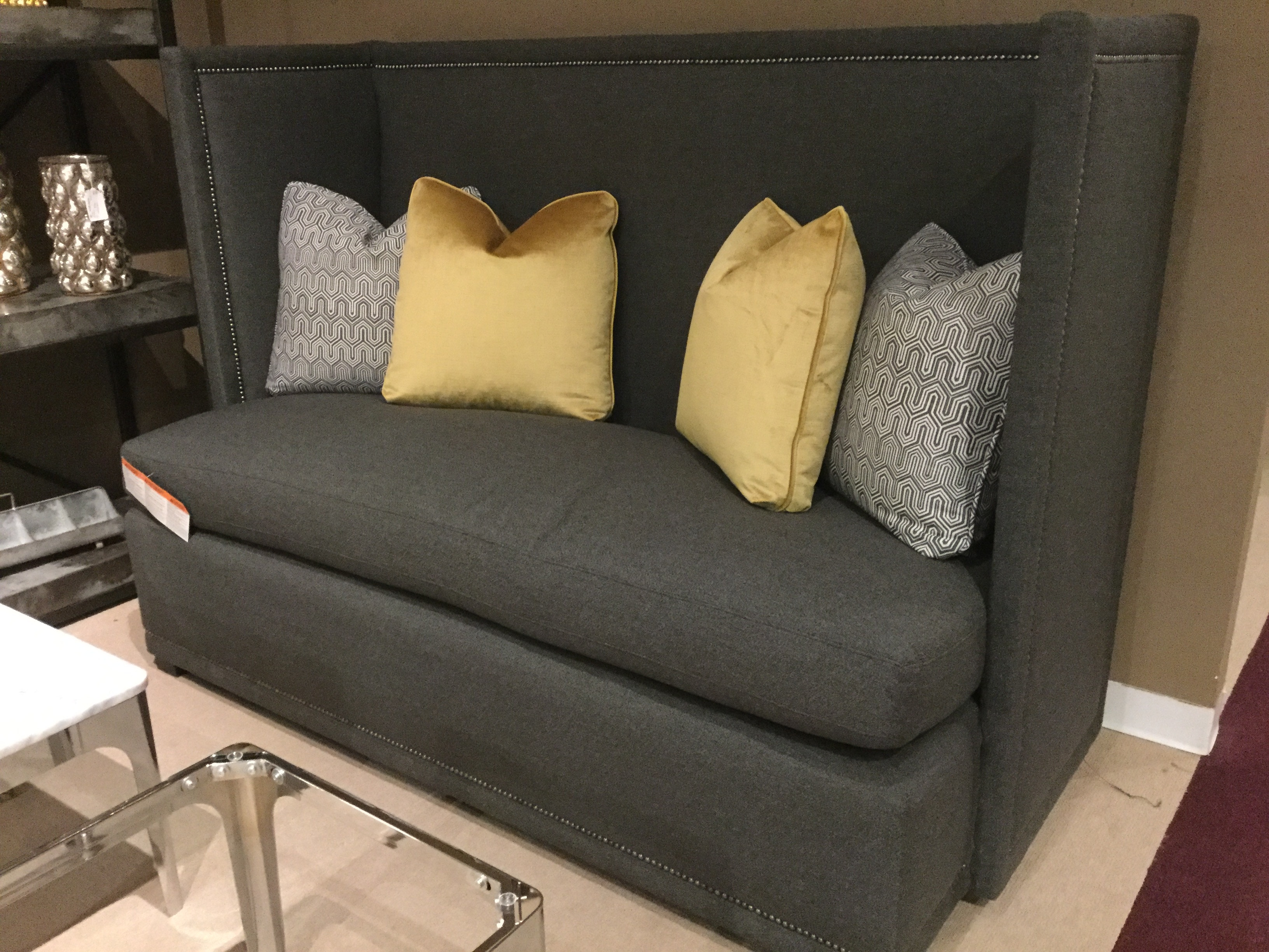 Bernhardt Living Room Marcourt Banquette  N1026 FEATURE GRAY At Charter  Furniture