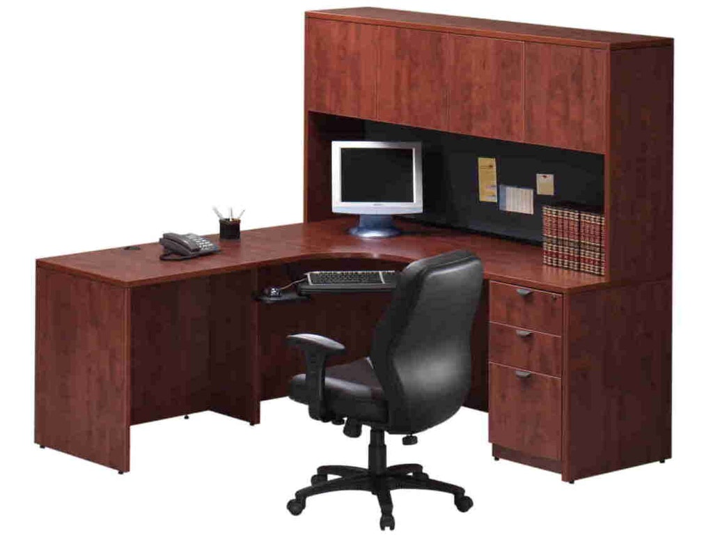 Express laminate home office el series corner credenza workstation w hutch typ0012 charter - Home office furniture dallas ...