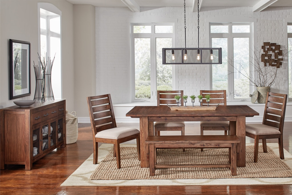 6 Piece Modern Rustic dining group in solid mahogany wood