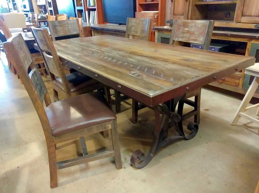 7 Piece Dining Set Rustic Reclaimed Solid Wood