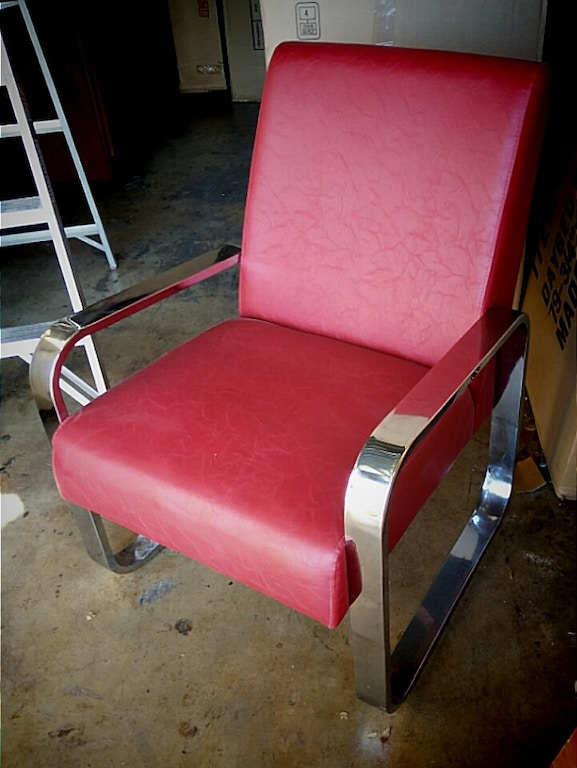 Chrome and red Accent Chair