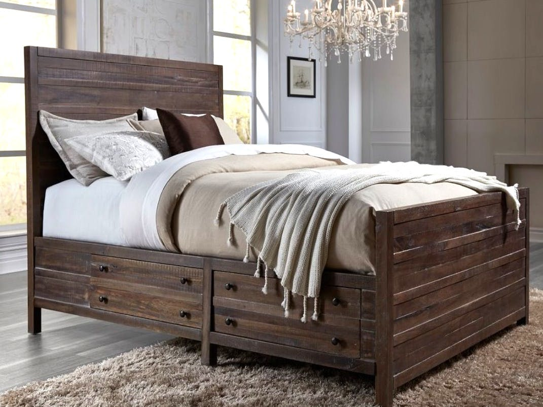 Mod Furn Bedroom Java Rustic Modern Queen Storage Bed Wa06d5 Woodworks Home Furnishings