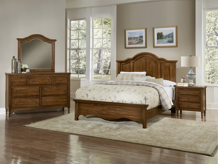 Vaughan Bassett Furniture Company Living Room Hamptonu0027s Queen Mansion Bed.  Crafted Of Cherry Solid Wood, The Dramatic Arched Shape Of The Headboard  Lend ...