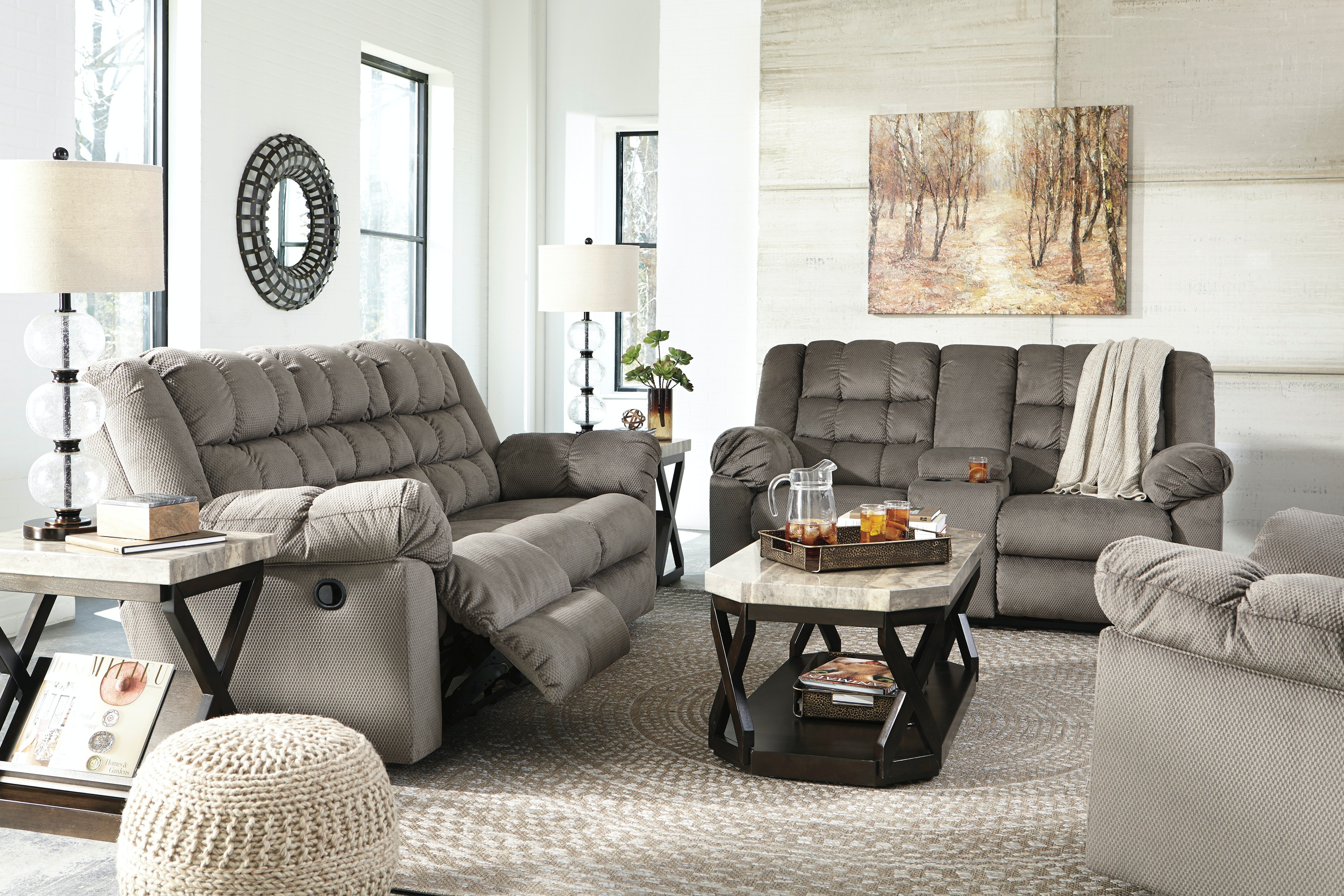 Reclining Sofa Charcoal Loveseat Ashley