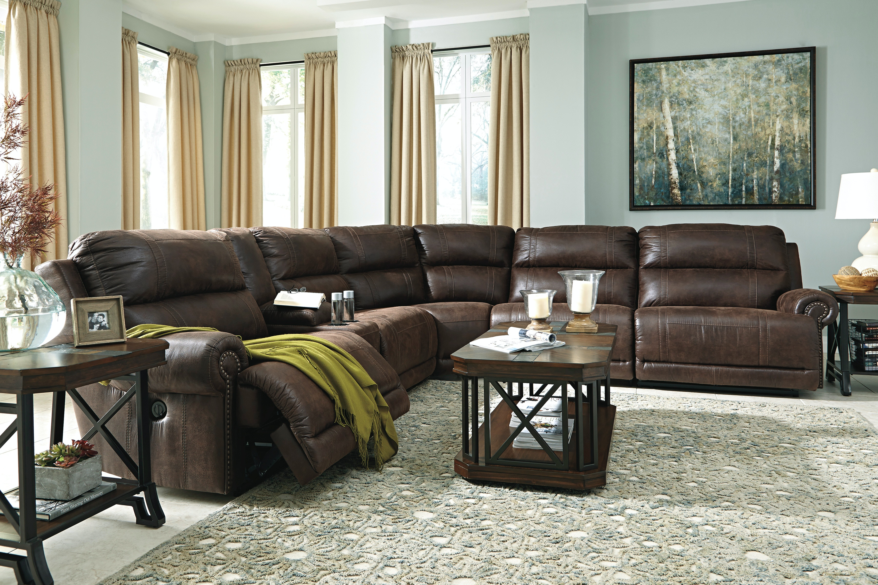 Signature Design By Ashley Sectional Sofa With 3 Recliners Total