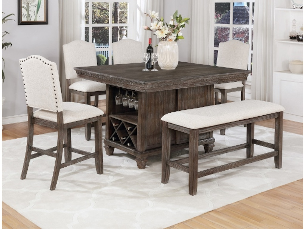 Regent Counter Height 9 pc Dining Table Set