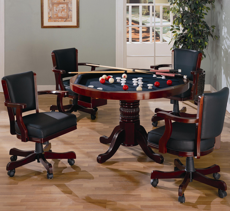 Coaster Merlot Game Table: Game Table W/ Pedestal 100201