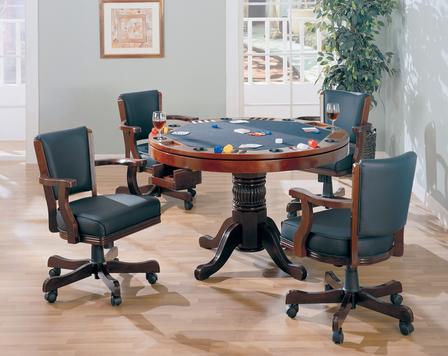 Coaster Merlot Game Table: Game Table W/ Pedestal 100201