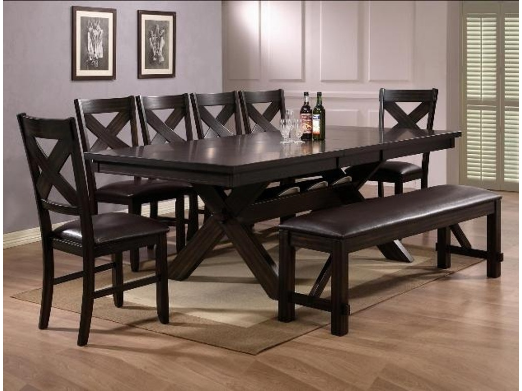havana  piece dining set rectangular extension table  chairs  - crown mark havana  piece dining set rectangular extension table chairs bench