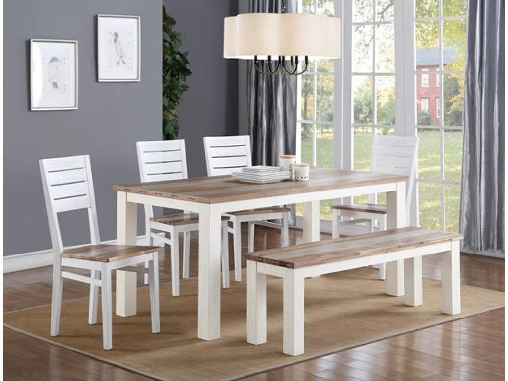 Dining Set For 4 Part - 36: Crown Mark Buckley 6pc Dining Set: Table, 4 Side Chairs, Bench 2370
