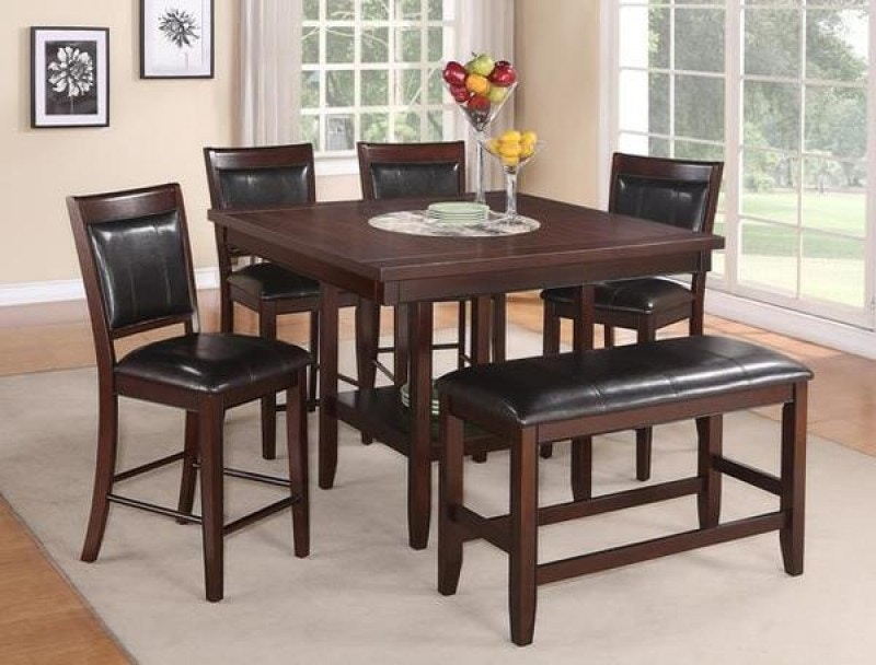 Crown Mark Fulton 5pc Counter Height Dining Set: 4 Stools, Stool/Bench,