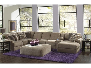 Jackson Furniture Malibu Sectional in Taupe w/ Chaise & Console 3239 Big Sectional Taupe