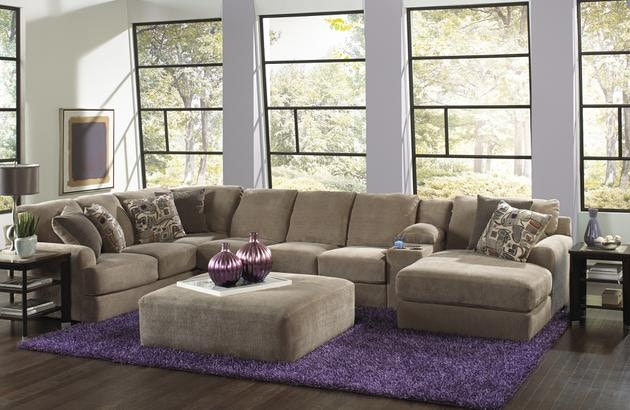 Wonderful Jackson Furniture Malibu Sectional In Taupe W/ Chaise U0026 Console 3239 Big  Sectional Taupe
