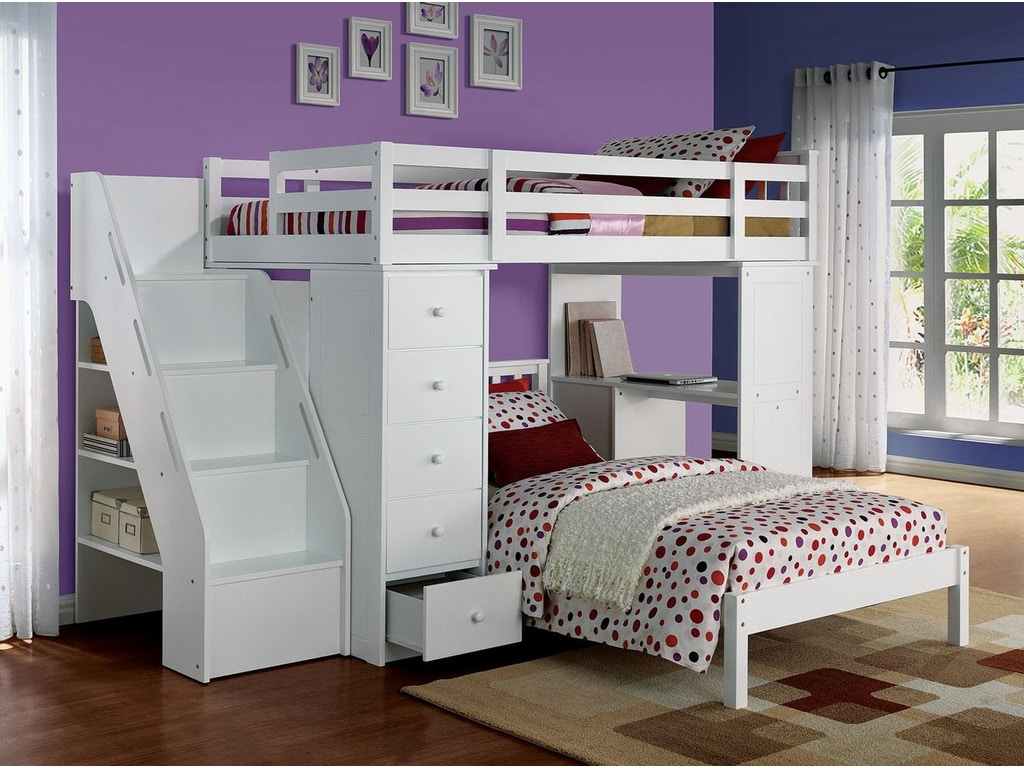 Bunk bed with desk on top - Acme Freya Loft Bunk Bed W Bookcase Ladder Chest Desk White
