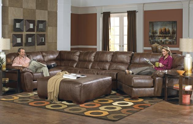 Lawson Sectional In Chestnut W Piano Wedge ~ Sectional Sofa With Wedge