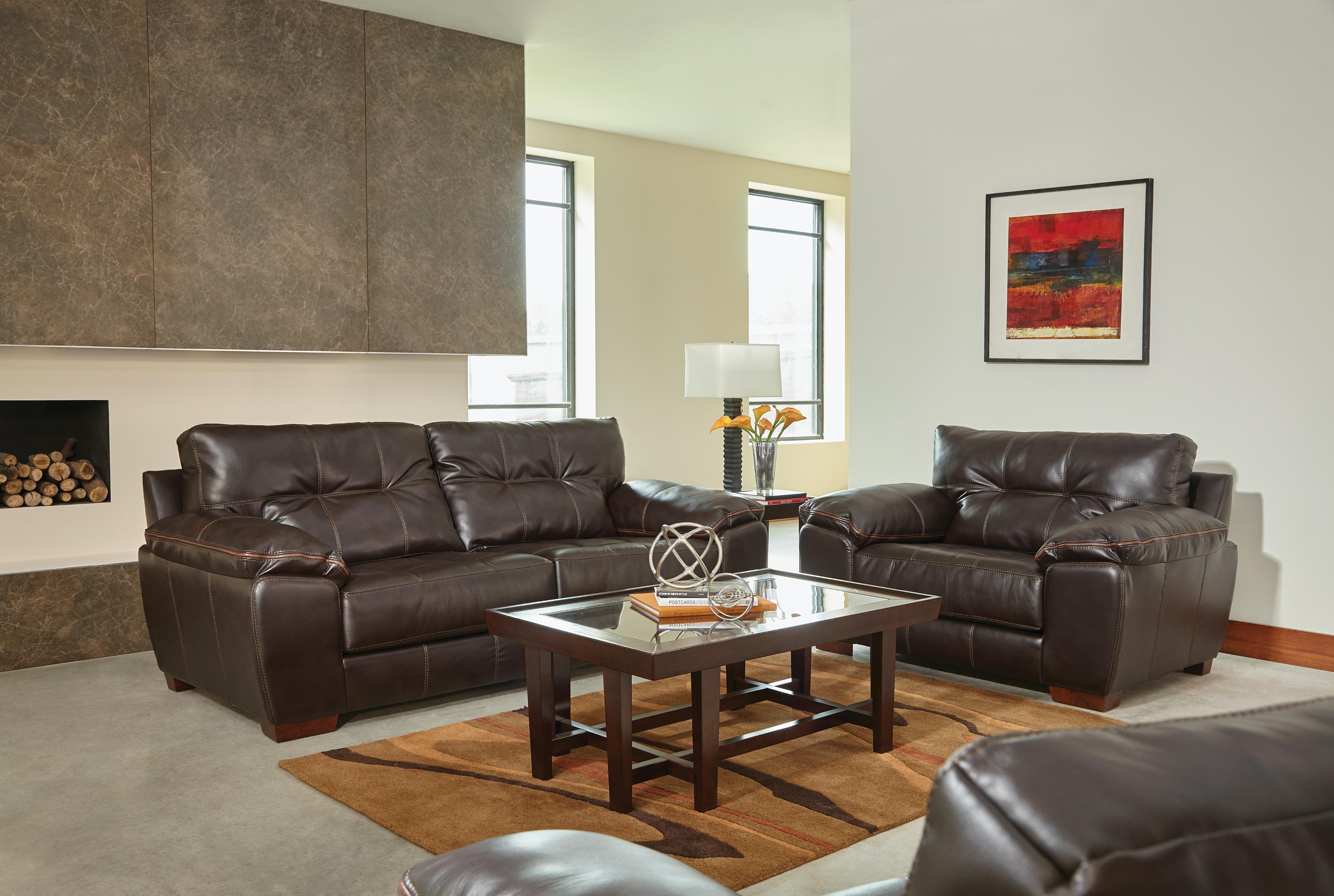 Catnapper Furniture Hudson Sofa U0026 Chair 1/2 (Brown W/ Tan Stripe)