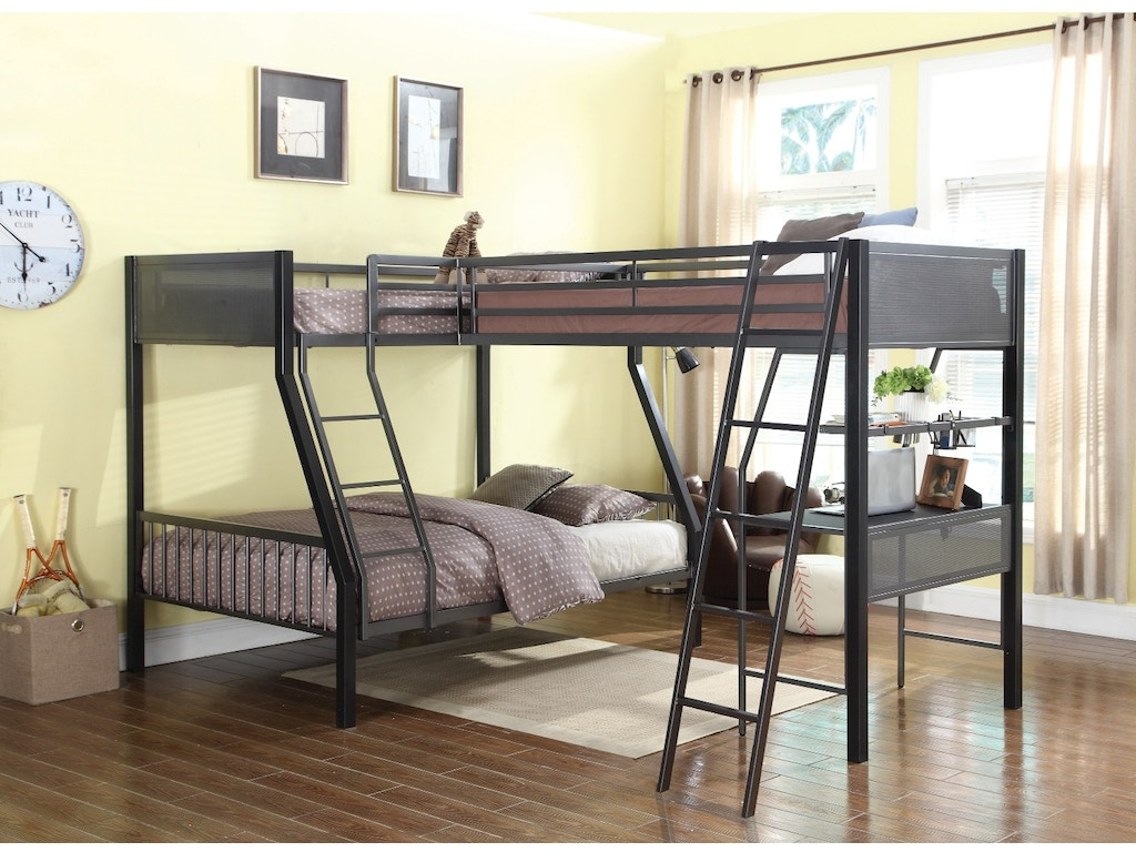 bunks collection lshaped bunk bed w loft (twinfull) - coaster bunks collection lshaped bunk bed w loft (twinfull)