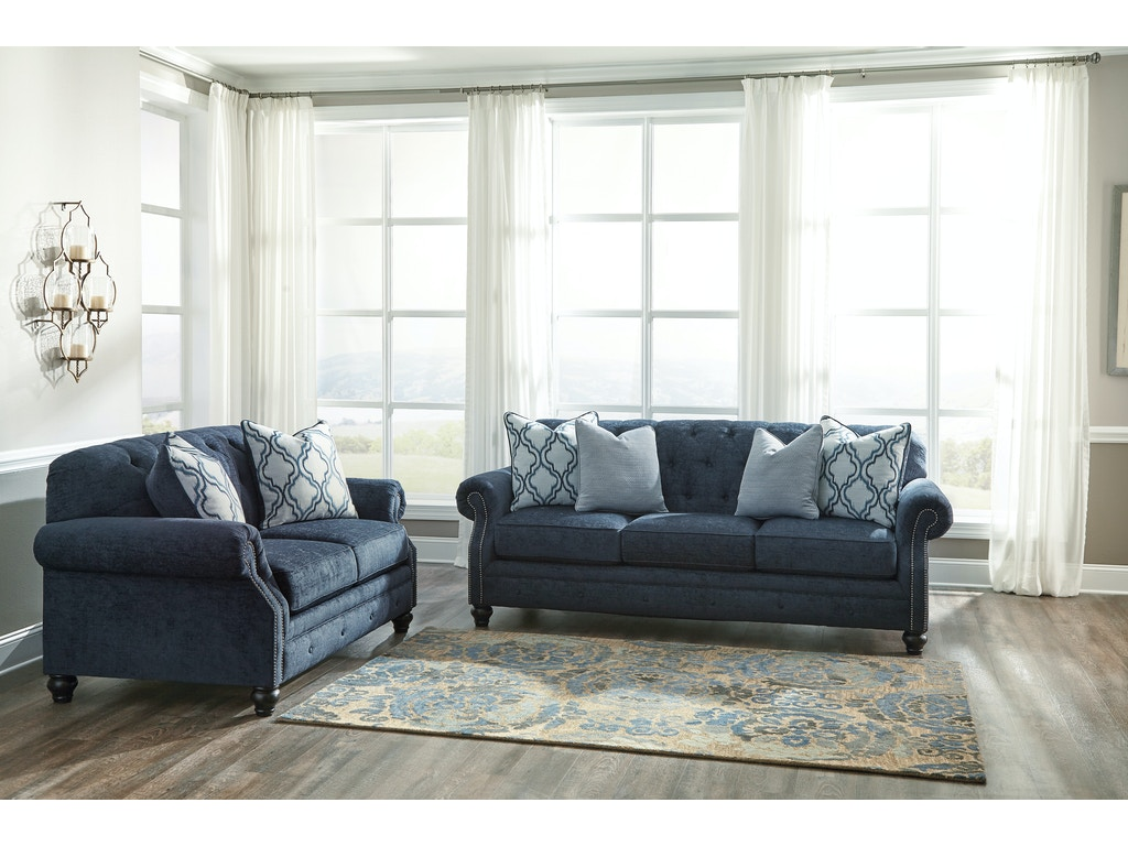 Lavernia Navy Sofa Loveseat