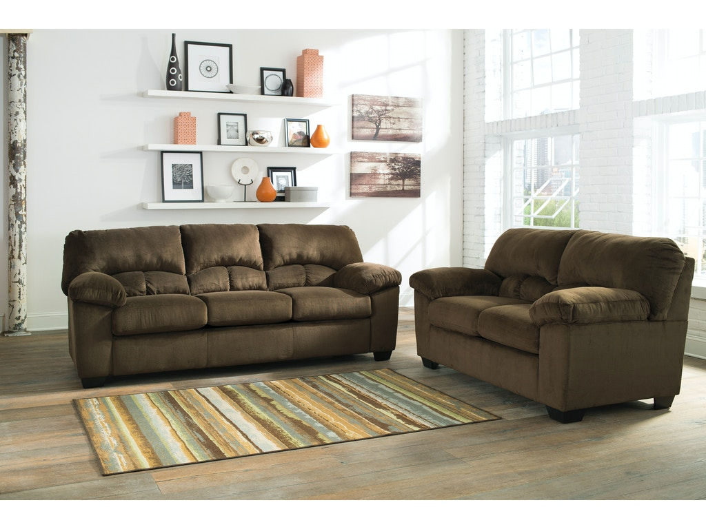 Dailey Chocolate Sofa Loveseat