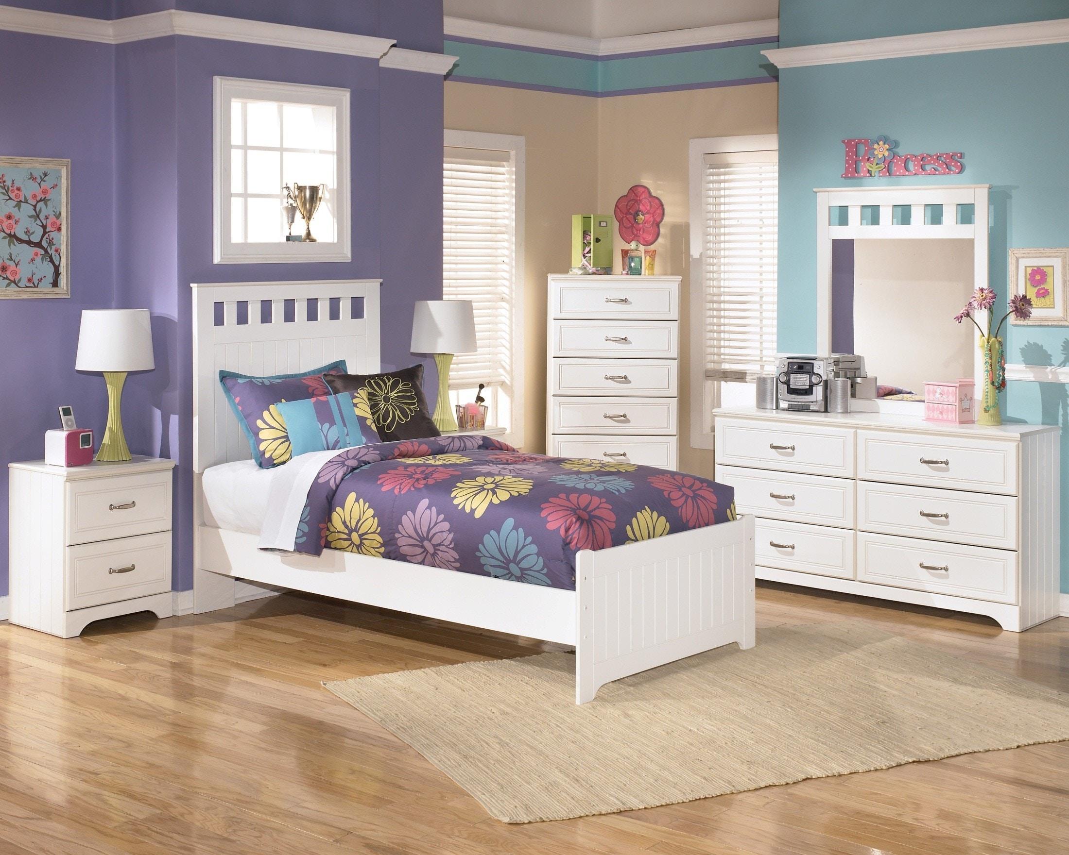 Bedroom Sets With Mirror Headboard lulu 5pc bedroom set: headboard, footboard, rails, dresser, and mirror