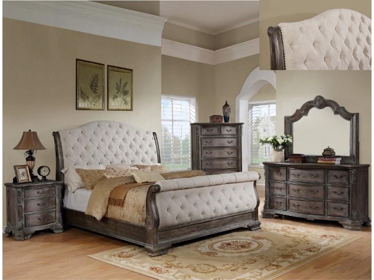 SHEFFIELD GREY SLEIGH Pc Bedroom Set - Bedroom furniture shops in sheffield