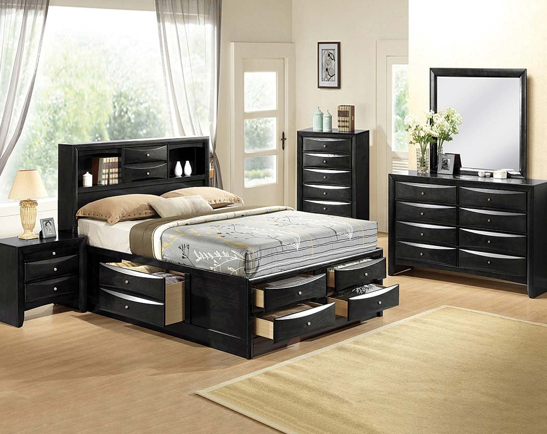 High Quality Crown Mark (Black Or Brown) Emily Bookcase 5pc Storage Bedroom Suite:  Headboard, Awesome Design