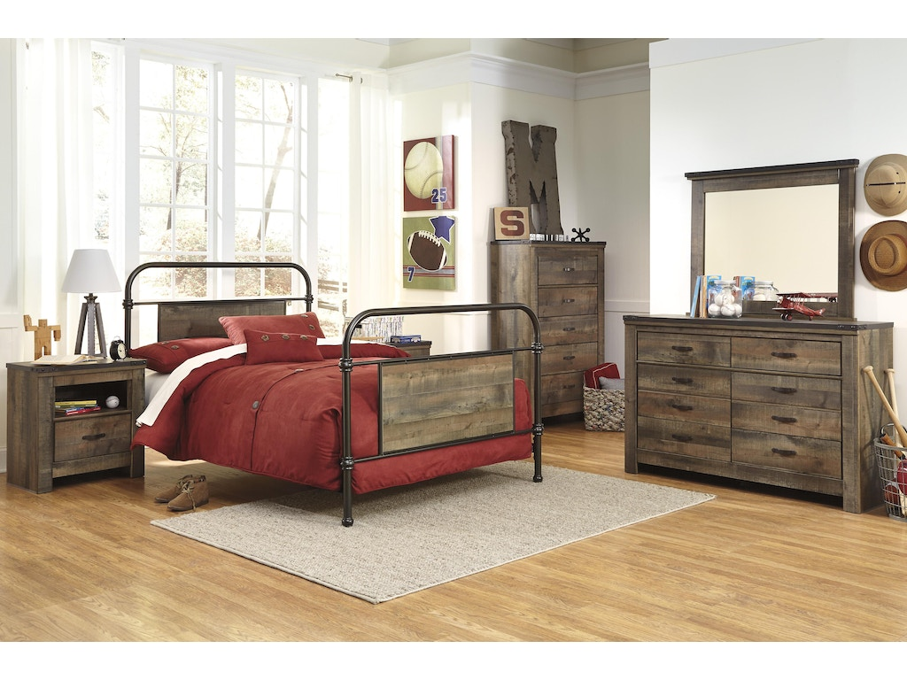 Trinell 5pc Bedroom Set: Metal Bed headboard, footboard, rails ...