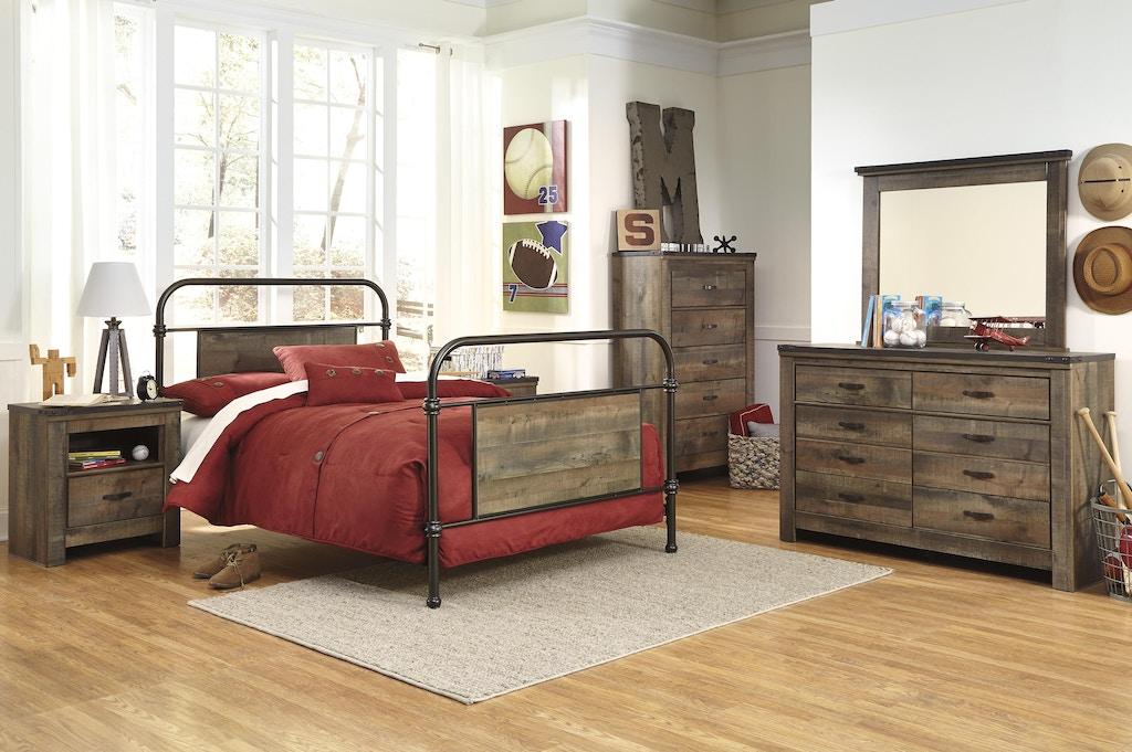 Trinell 5pc Bedroom Set: Metal Bed headboard, footboard, rails ...
