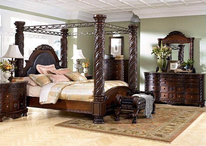 north shore bedroom set (5pc): headboard, footboard, rails