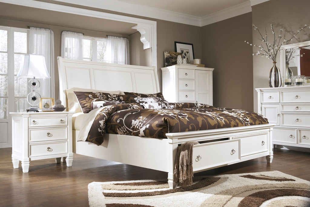Prentice Sleigh Bed w/ Storage 5pc Bedroom Set (QUEEN)(White)