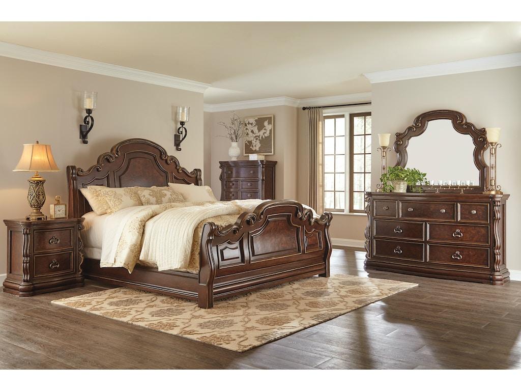 Florentown Dark Brown Sleigh 5pc Bedroom Set (QUEEN)