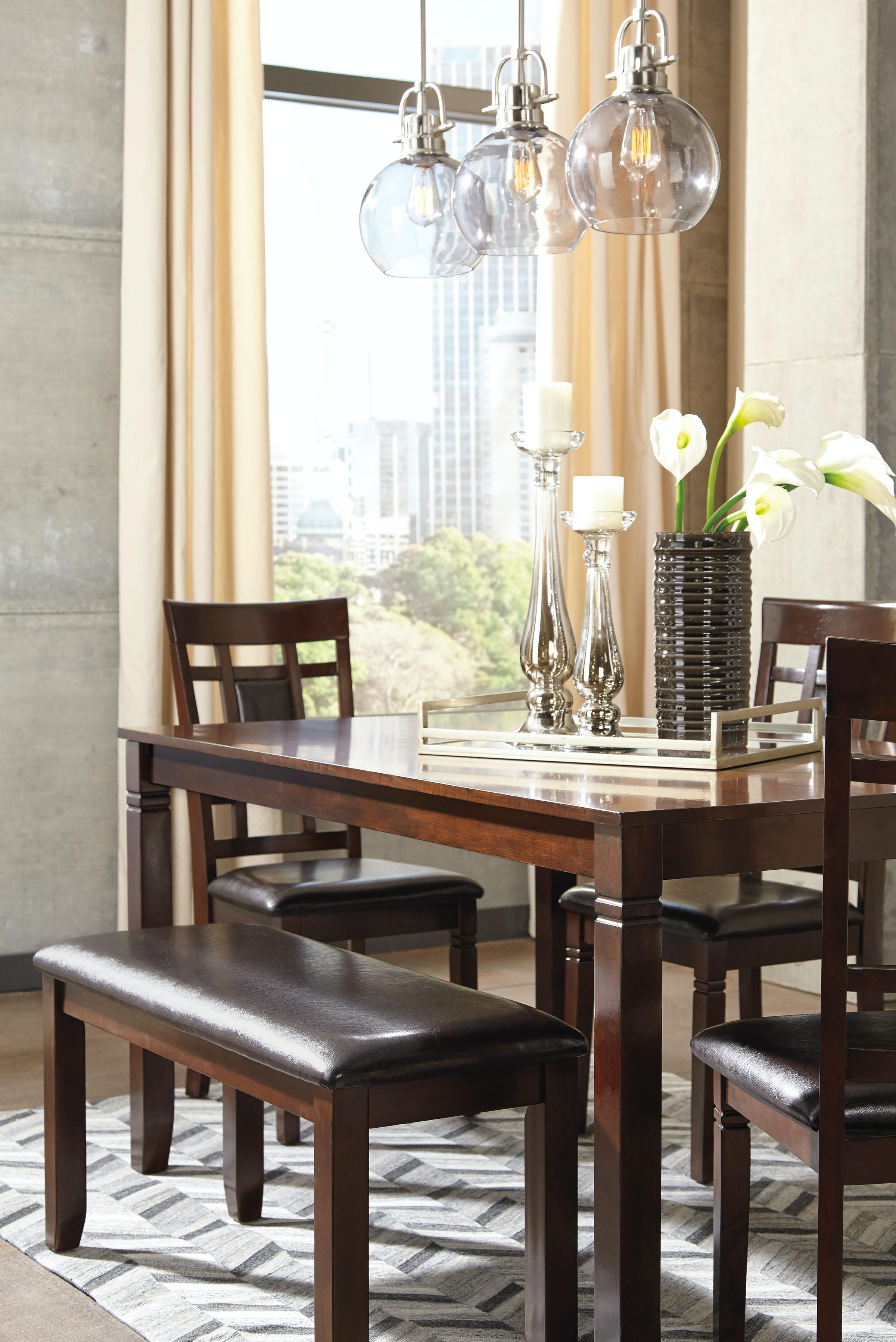 Ashley Bennox Brown 6 Piece Rectangular Dining Room Set D384