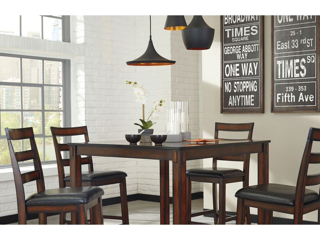 Coviar 5pc Dining Room Set: 4 stools, square counter height table