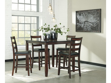 Ashley Coviar 5pc Dining Room Set: 4 stools, square counter height table D385- Counter