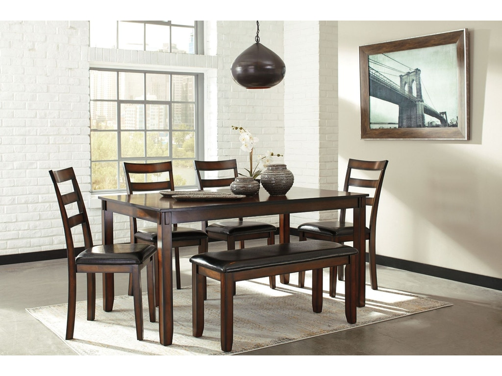 Coviar 6pc Dining Room Set: 4 chairs, bench, rectangular table