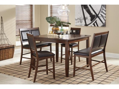 Ashley Meredy Brown 5pc Counter Height Dining Set: 2 Double Seat Stools, 2 Single Seat Stools, 1 Counter Height Table d395-323